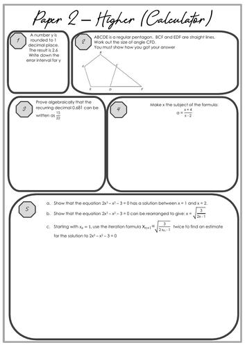GCSE Maths (9 - 1) Paper 2 Higher Pre-exam Worksheet
