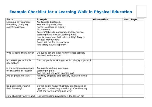 PE Learning walk checklist