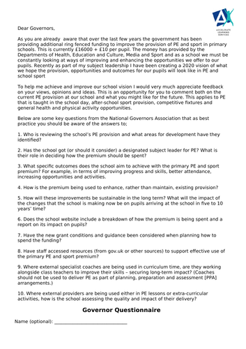 PE questioannire for School Governors