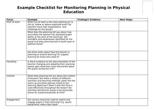 PE planning scrutiny form