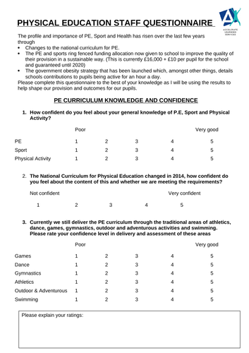 PE questionnaire for staff