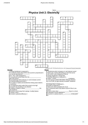 AQA Physics crosswords