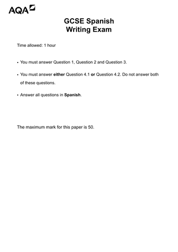 EXTRA Mock Writing Paper - GCSE Spanish Foundation Tier