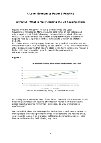 OCR A level Economics Practice data response on the UK housing market