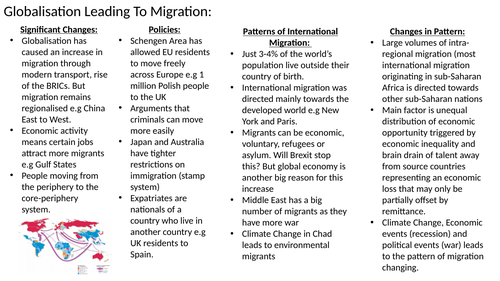 Edexcel A Level Geography: Migration, Identity & Sovereignty Revision Flashcards/Powerpoint.