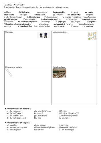 "KS3 KS4 GCSE French - Le collège / Mon bahut - Vocabulary / Vocabulaire - ""Categoriser"" Worksheet"