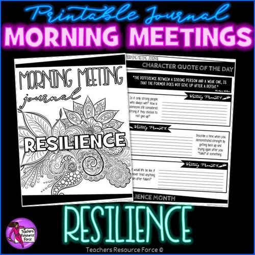 RESILIENCE Character Education Tutor Time Printable Journal