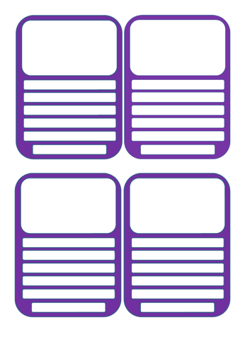 Blank Top Trump Cards - Fill them in yourself!