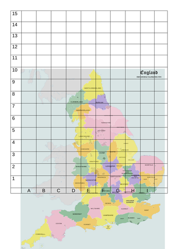 England counties with coordinate grid