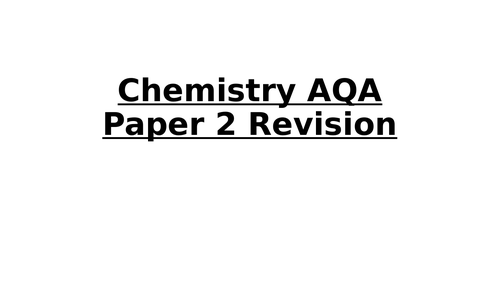 Must have GCSE Chemistry paper 2 resource