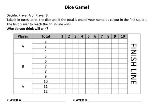 Probability dice game worksheet