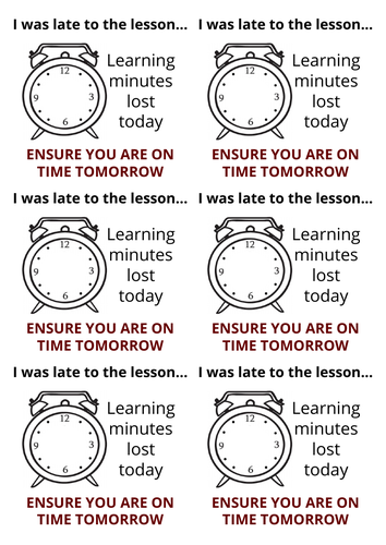 Late to lesson stickers