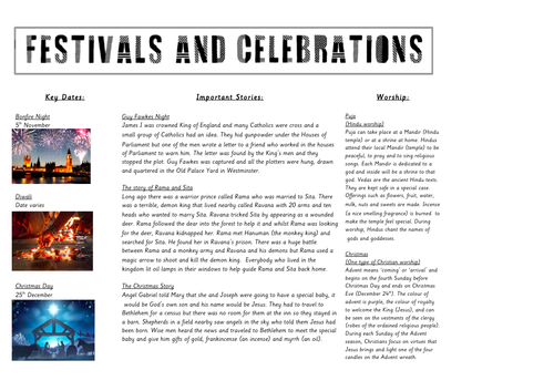 Festivals and Celebrations Knowledge Organiser (Hinduism and Christianity)