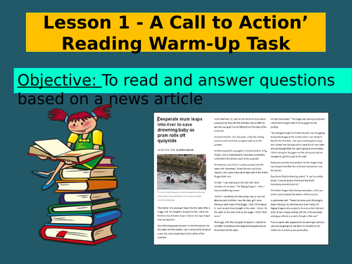 KS3 Non-Fiction Reading Assessment News Article based on 'Mother saves her baby'.