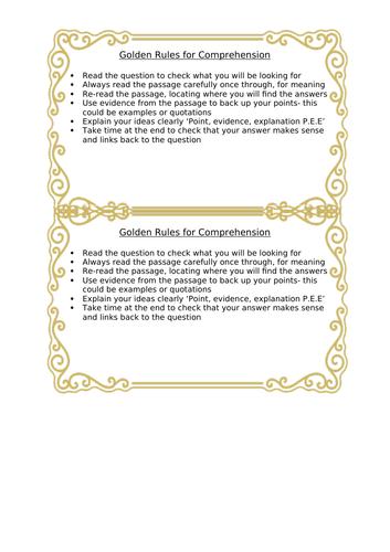 Golden Rules for comprehension