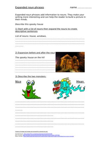 Expanded noun phrases worksheet