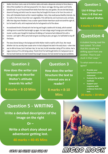 AQA GCSE English Language - Sample Micro Mocks - Papers 1 & 2