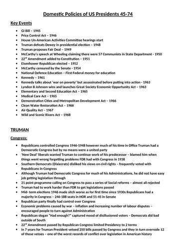A* A-LEVEL HISTORY NOTES DOMESTIC POLICIES OF US PRESIDENTS