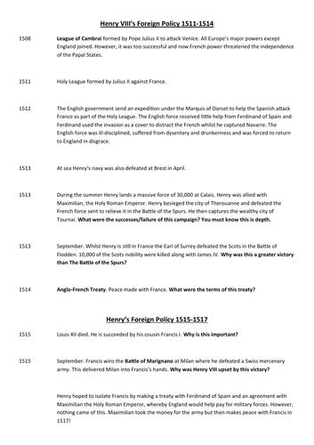 Timeline of Henry VIII's Foreign Policy 1509-1529