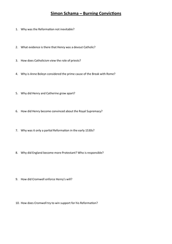 Questions to accompany Simon Schama's Burning Convictions DVD
