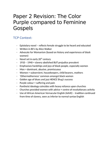 A-Level English Comparisons between Feminine Gospels and The Color Purple