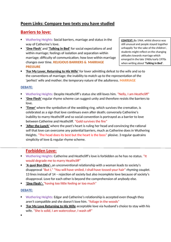 Post-1900 Anthology and 'Wuthering Heights' // Comparisons AQA