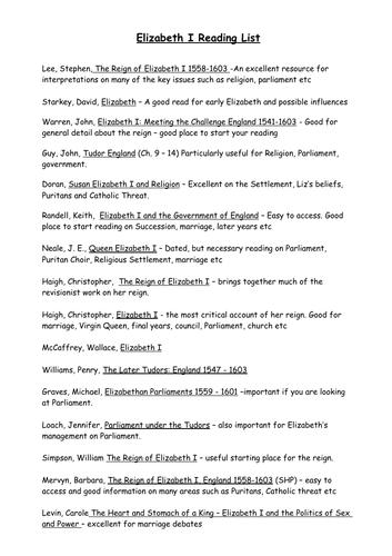 Detailed reading list for Elizabeth I