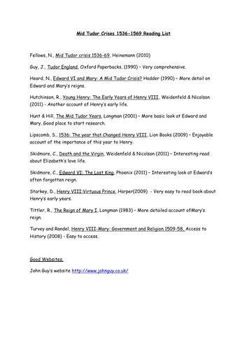 Mid Tudor Crisis Reading List