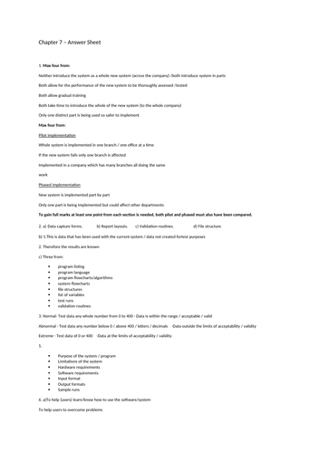 Chapter 7 - System Life Cycle Worksheet ICT IGCSE