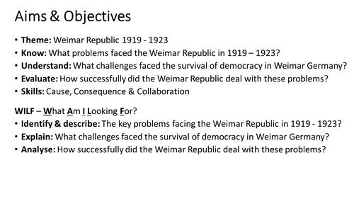 Weimar Republic 1919 - 1923