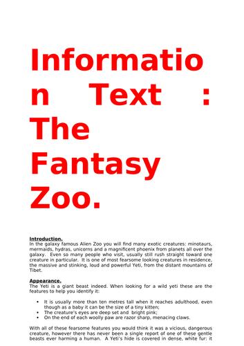 A radio advert and information text for  non-fiction literacy  units.