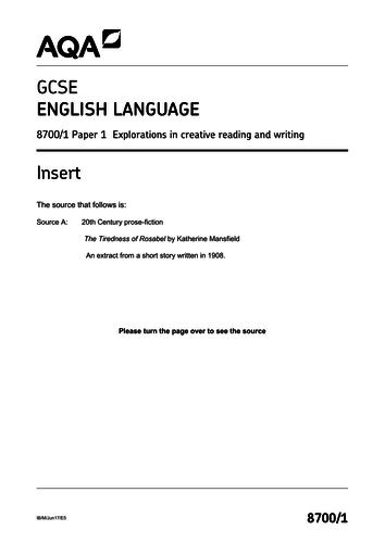 AQA English Language Paper 1: The Tiredness of Rosabel exam deconstruction