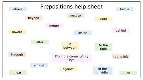English- Prepositions help sheet