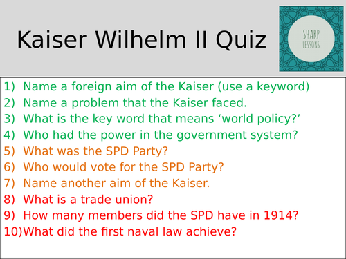 GCSE Nazi Germany Knowledge Organiser Quiz (Kaiser Wilhelm)