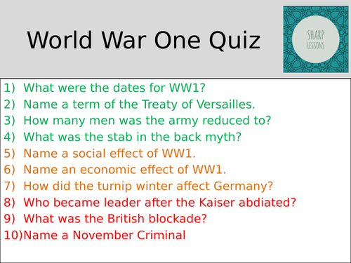GCSE Nazi Germany Knowledge Organiser Quiz  (WW1)