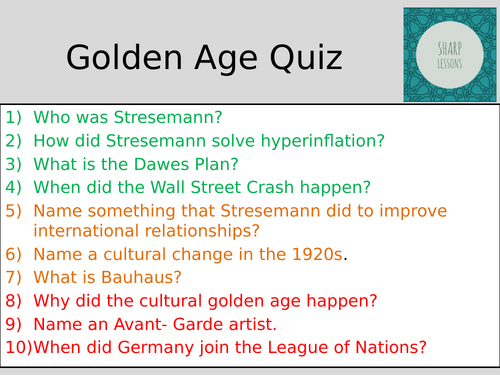 GCSE Nazi Germany Knowledge Organiser Quiz (Golden Age)