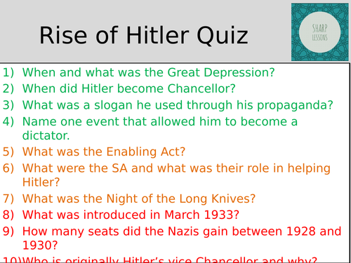 GCSE Nazi Germany Knowledge Organiser Quiz  (Rise of Hitler)