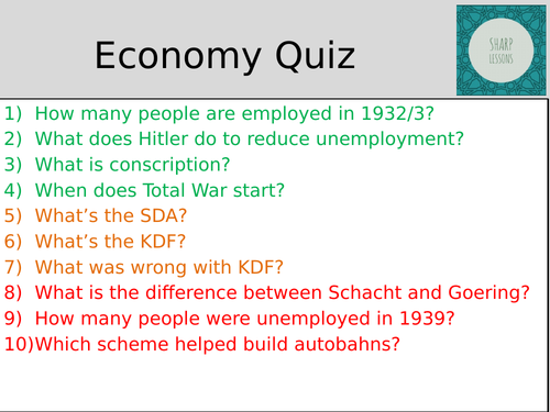 GCSE Nazi Germany Knowledge Organiser Quiz (Hitler's Economy)