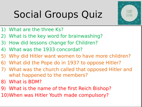 GCSE Nazi Germany Knowledge Organiser  Quiz (Social Groups)