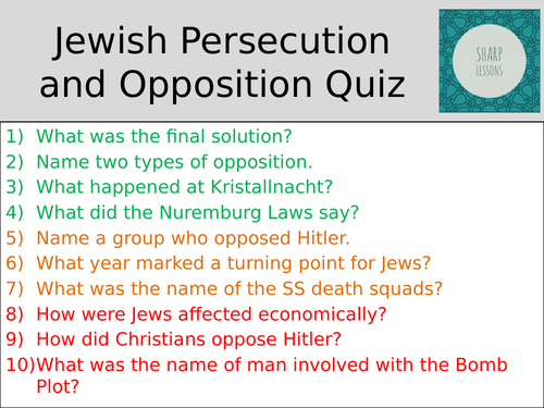 GCSE Nazi Germany Knowledge Organiser Quiz (Jews and Opposition)