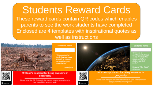 Praise Cards / Reward Cards with QR Code
