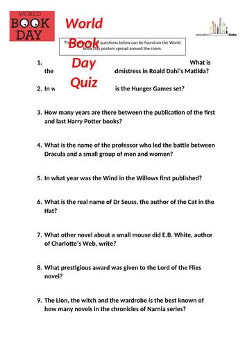 World Book Day Quiz resources