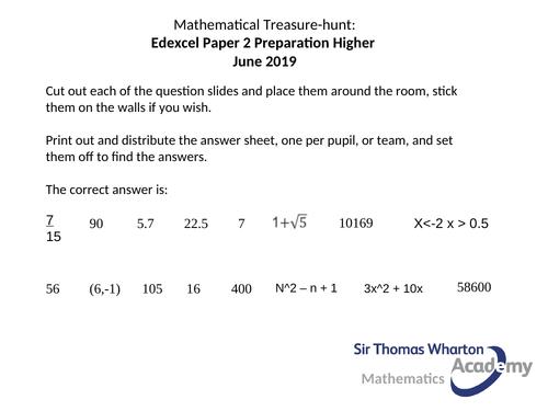 Edexcel GCSE Paper 2H Treasure Hunt Mathematics