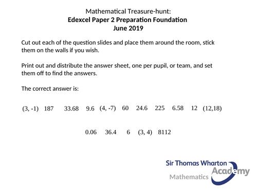 Edexcel GCSE Paper 2F Treasure Hunt Mathematics
