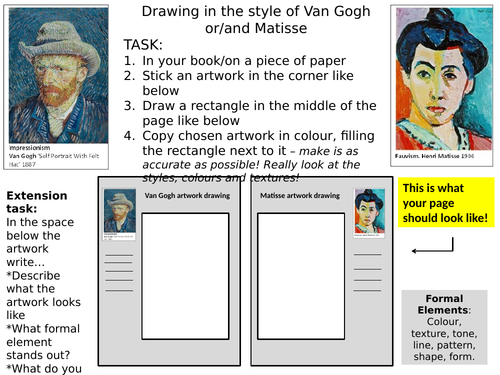Cover lesson - Van Gogh/Matisse portrait drawing
