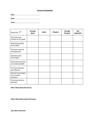 Lesson Feedback Evaluation Form
