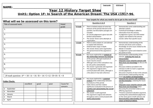 target sheet for edexcel In Search of the American Dream A Level