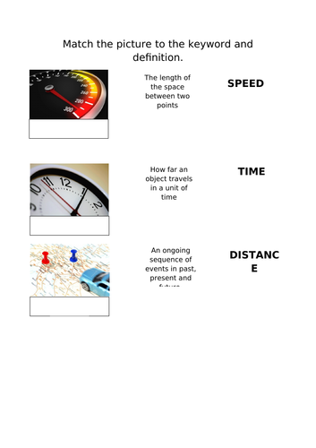 Starter for speed, distance and time