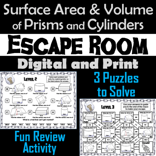 Surface Area and Volume of Prisms and Cylinders: Geometry Escape Room Math
