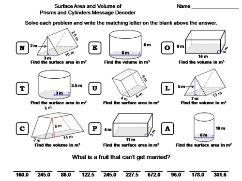 Volume and Surface Area of Prisms and Cylinders Activity: Math Message Decoder
